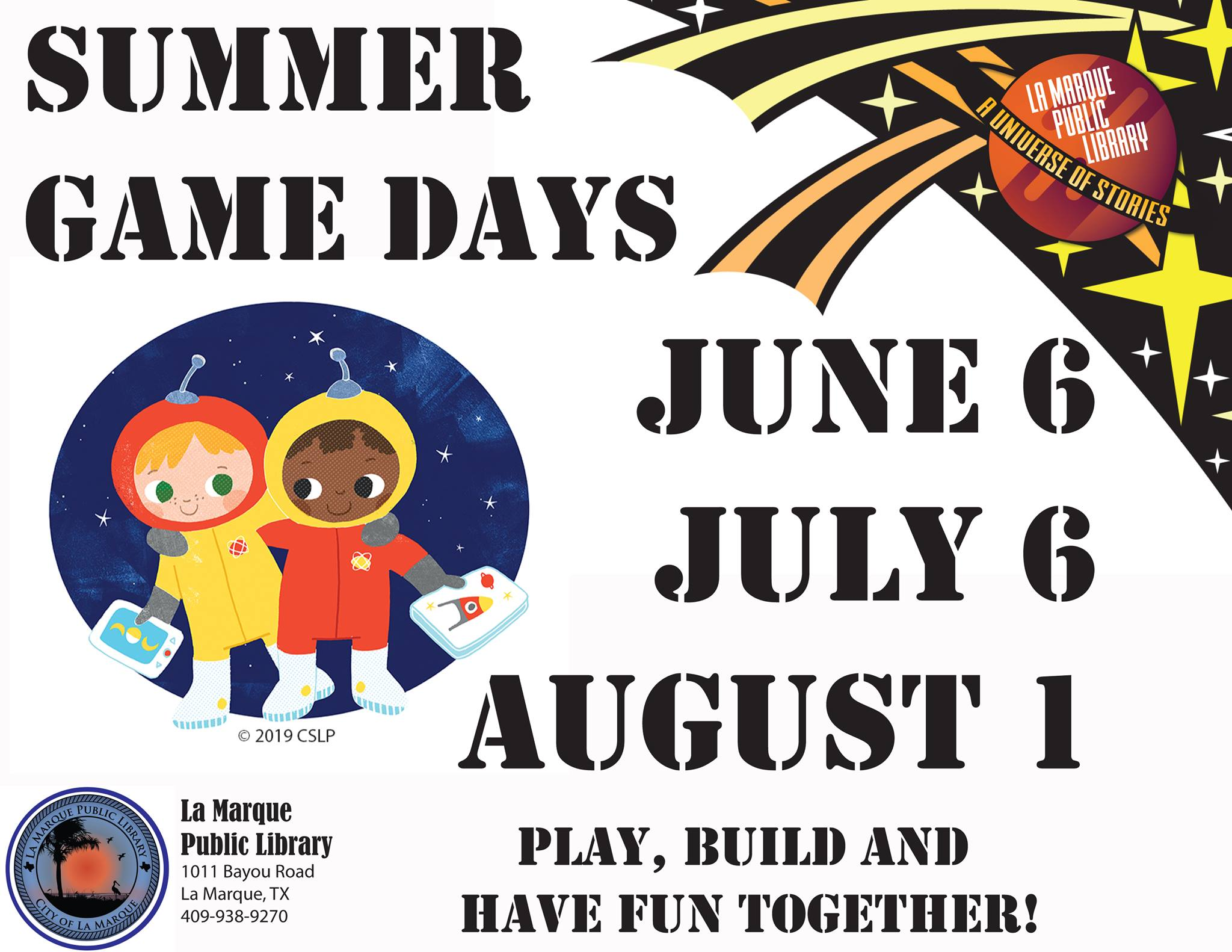 Library Summer Game Days showing dates