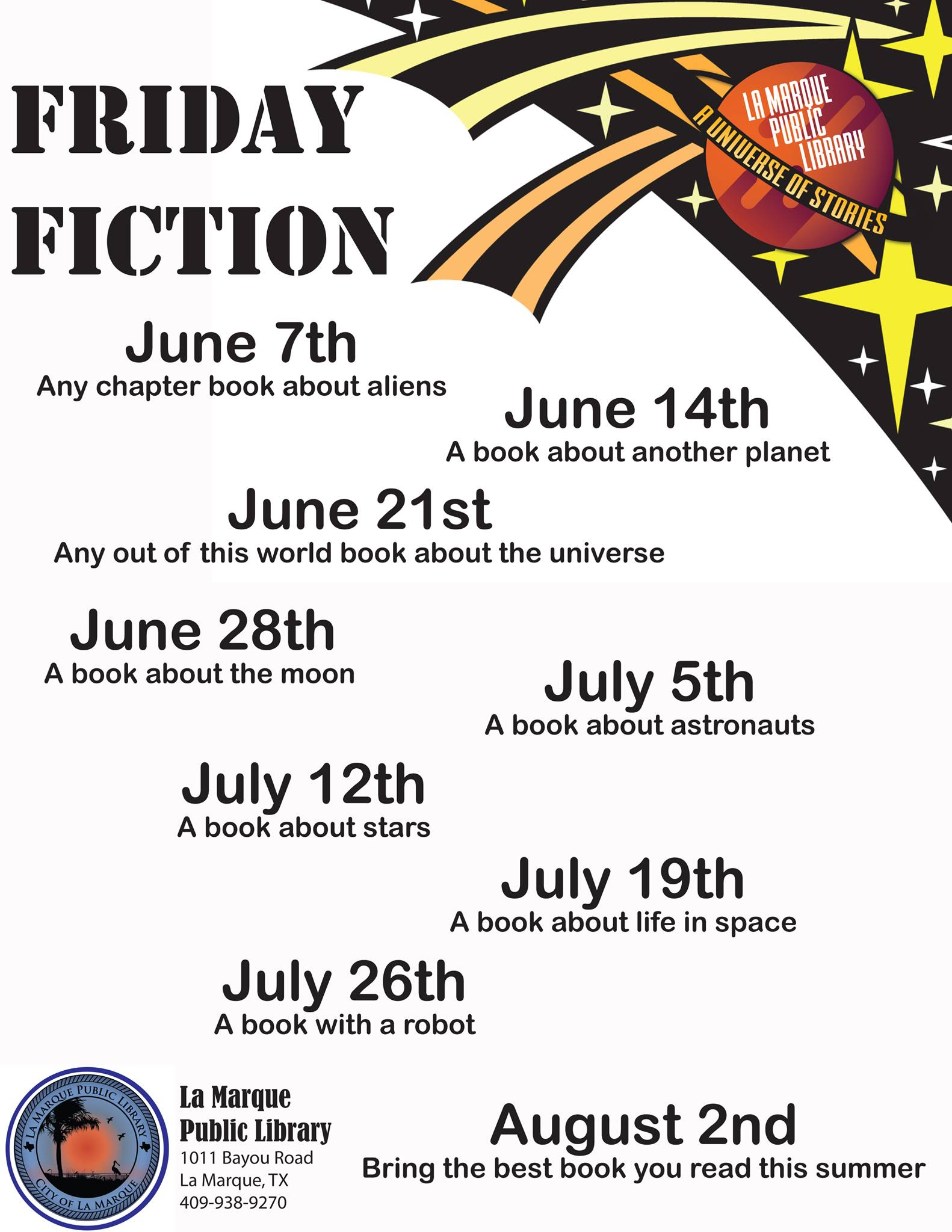 Friday Fiction with La Marque Public Library with dates and topics