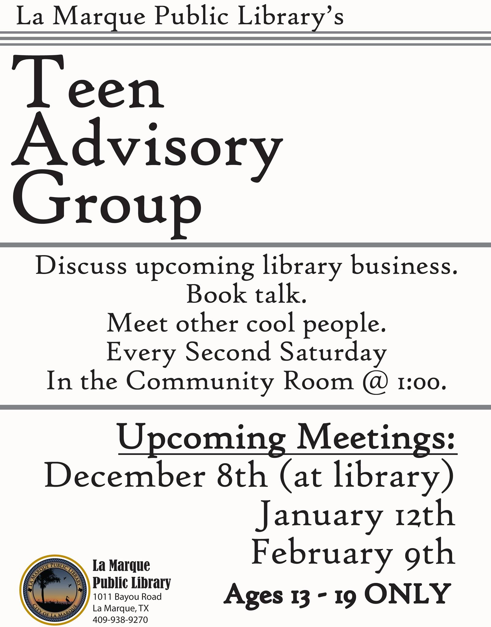 Teen Advisory Group at the Library