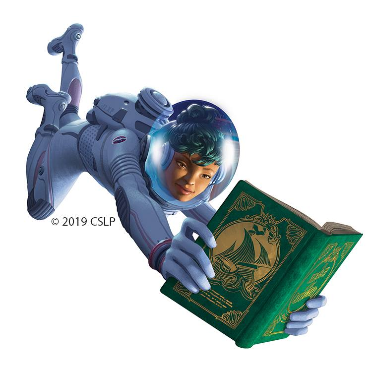 Space Place graphic shows an astronaut with a book