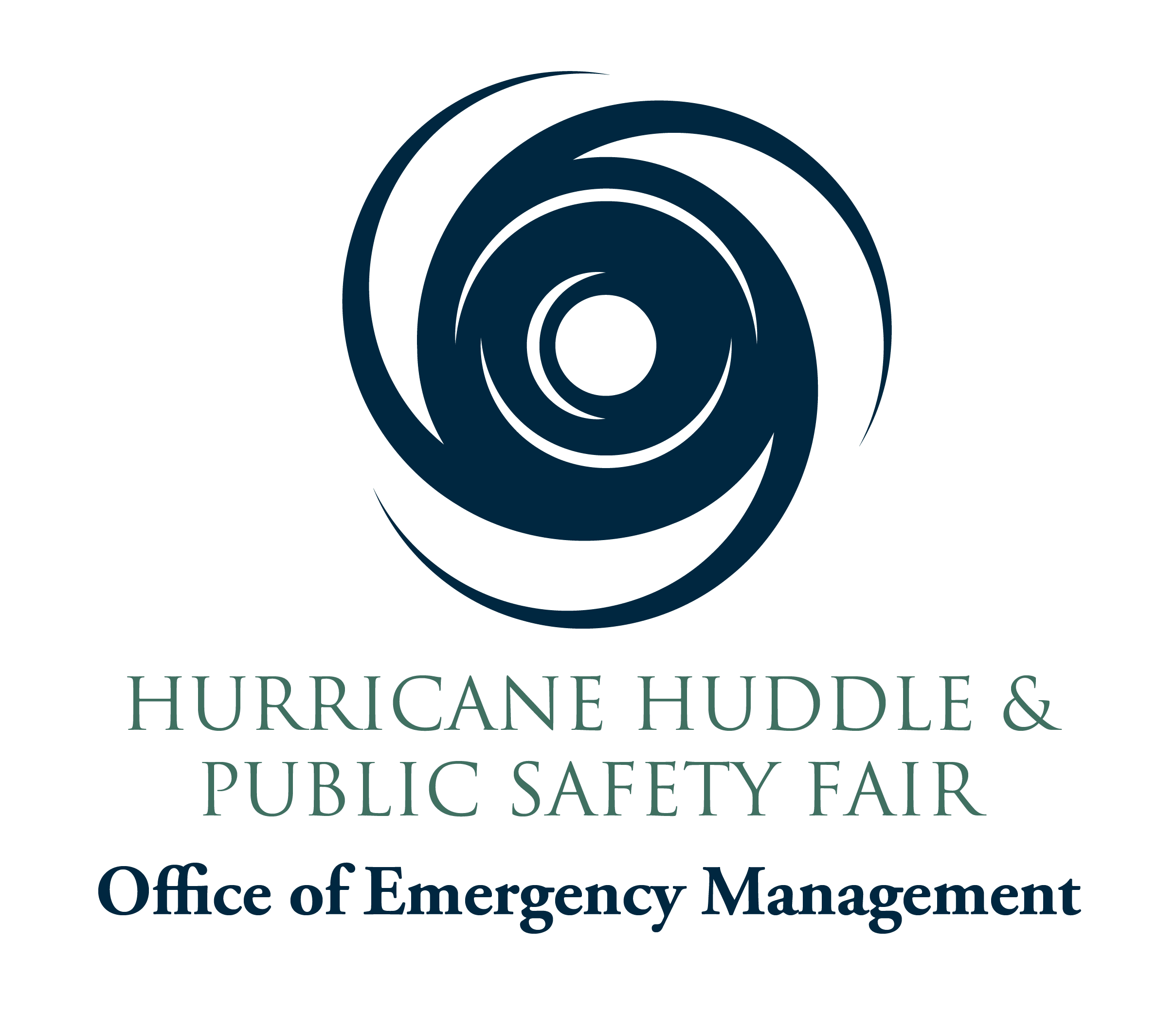 2019 Hurricane Huddle event graphic with hurricane line drawing