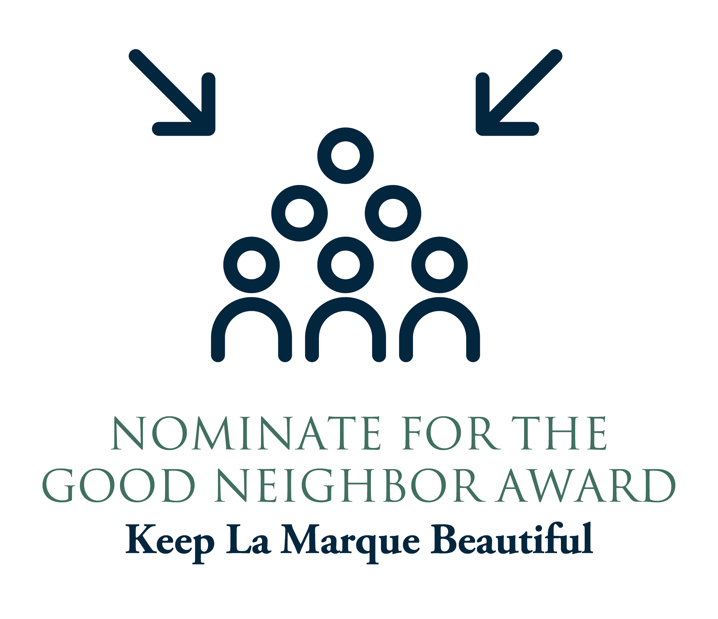 Nominate for Good Neighbor Award graphic with arrows pointing to people line drawing