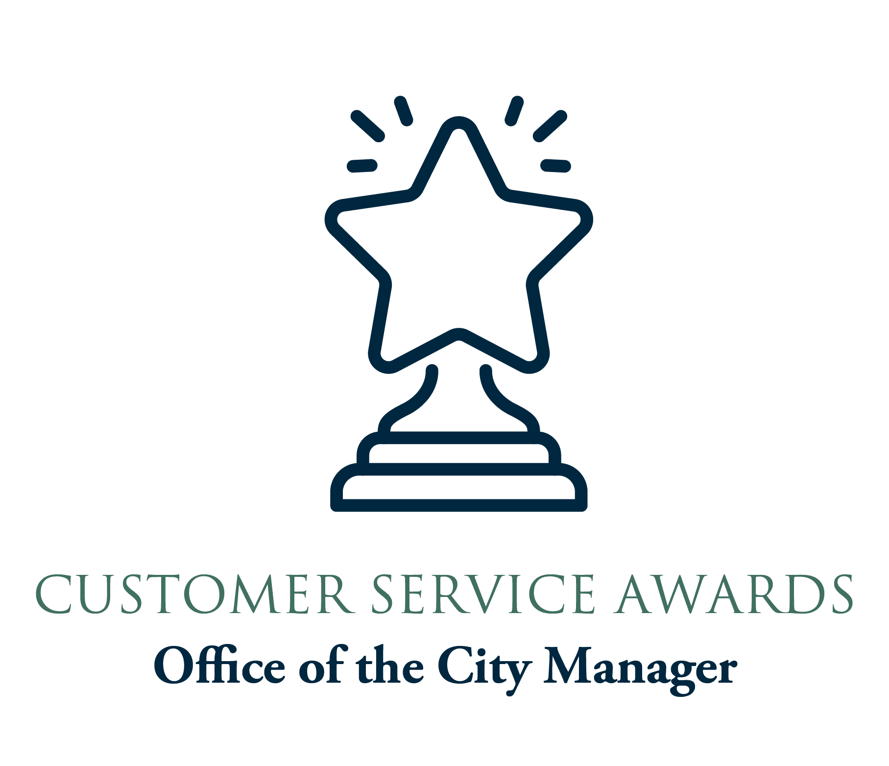 Customer Service Award graphic with line art trophy_102819