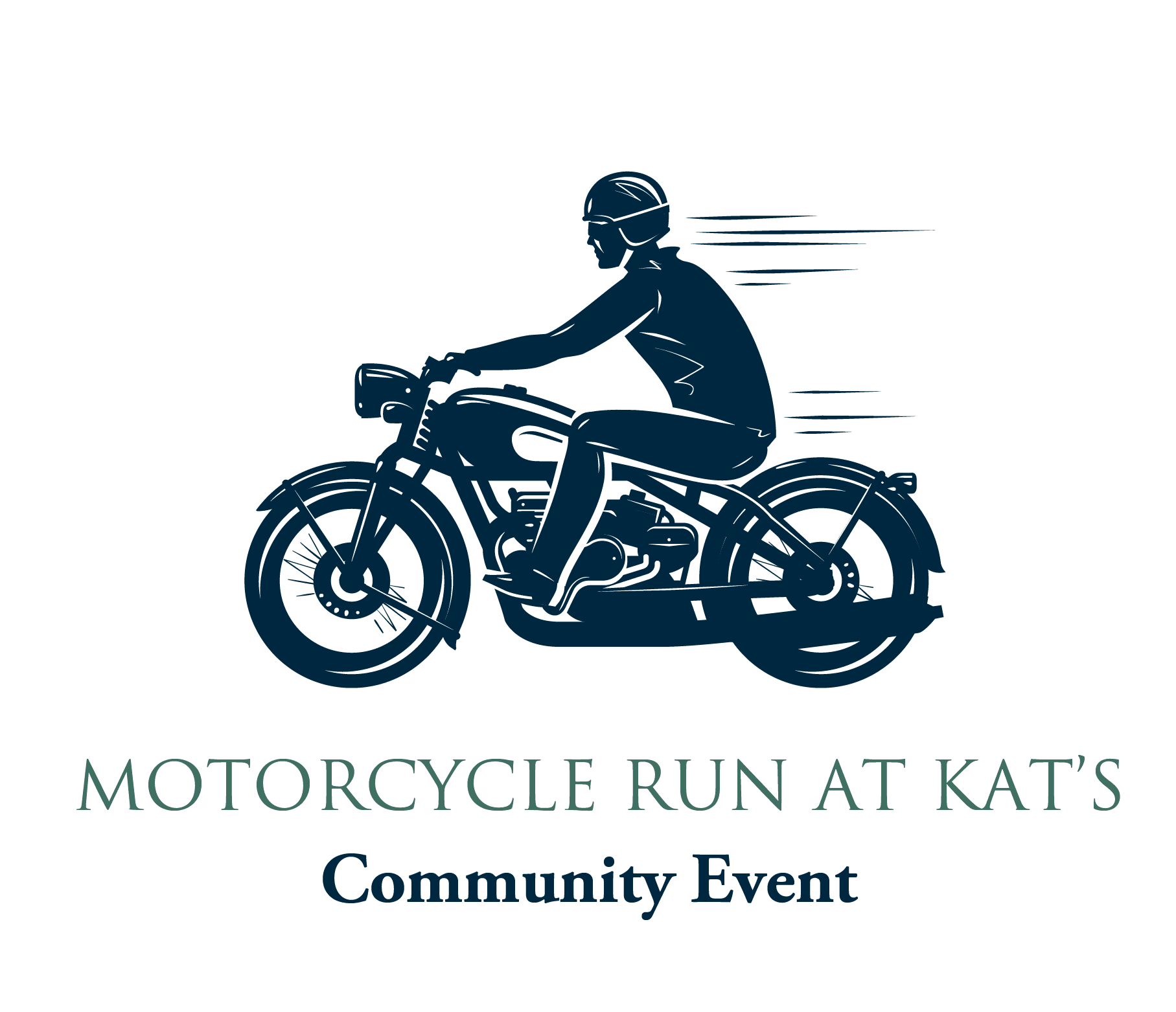 Motorcycle Run graphic with line drawing or motorcycle and rider