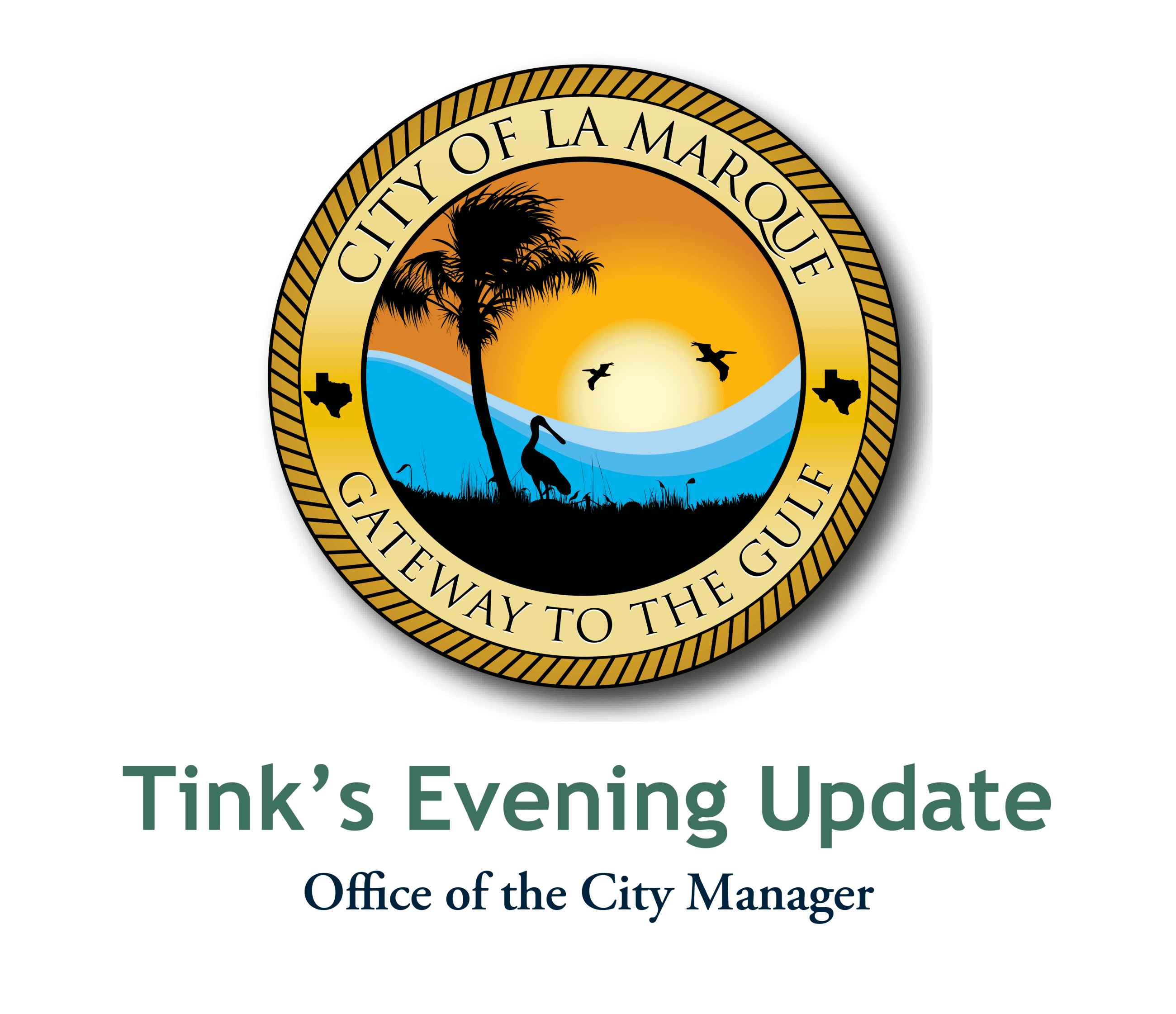 Evening Update graphic with city logo