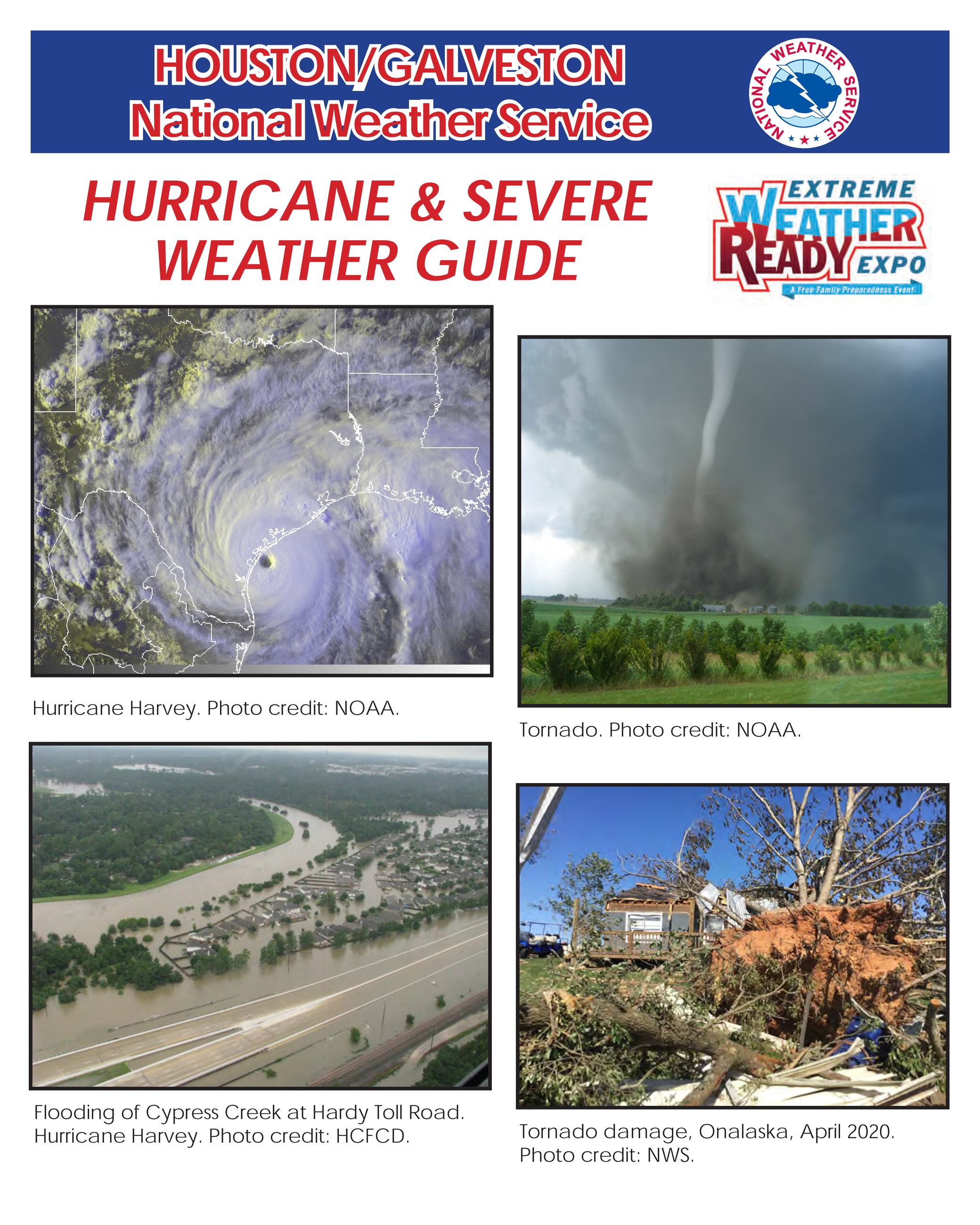 2020 Hurricane Guide Cover with photos of hurricanes