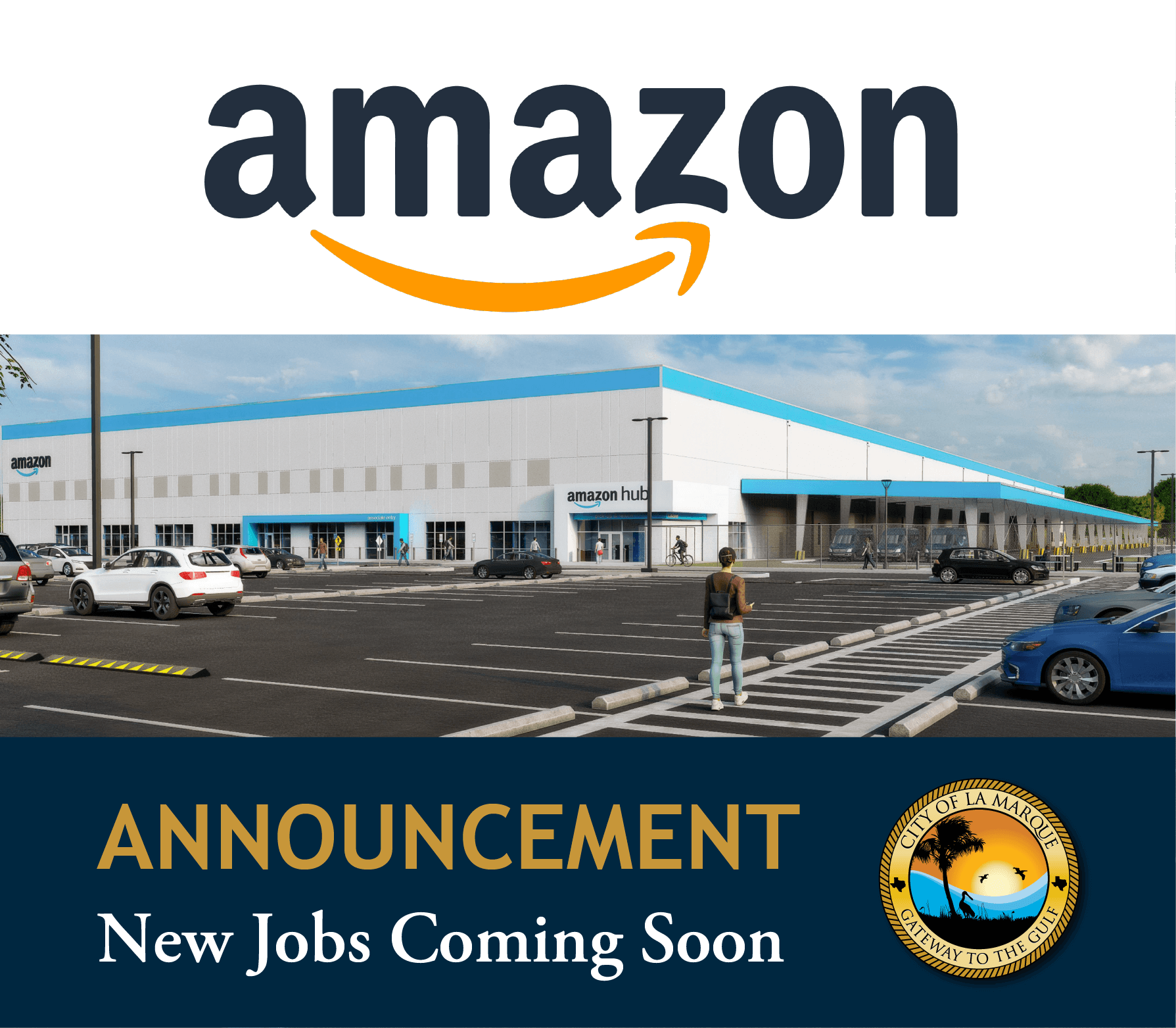 Amazon Coming to La Marque graphic with rendering