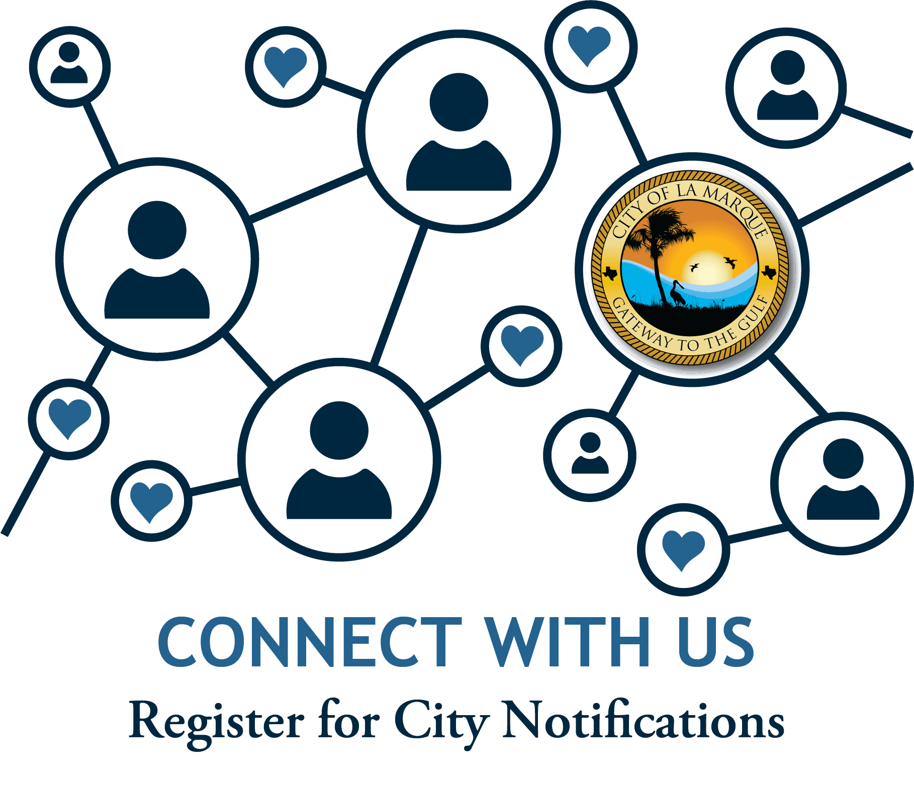 City Notifications graphic with line drawing people connected by circles and lines