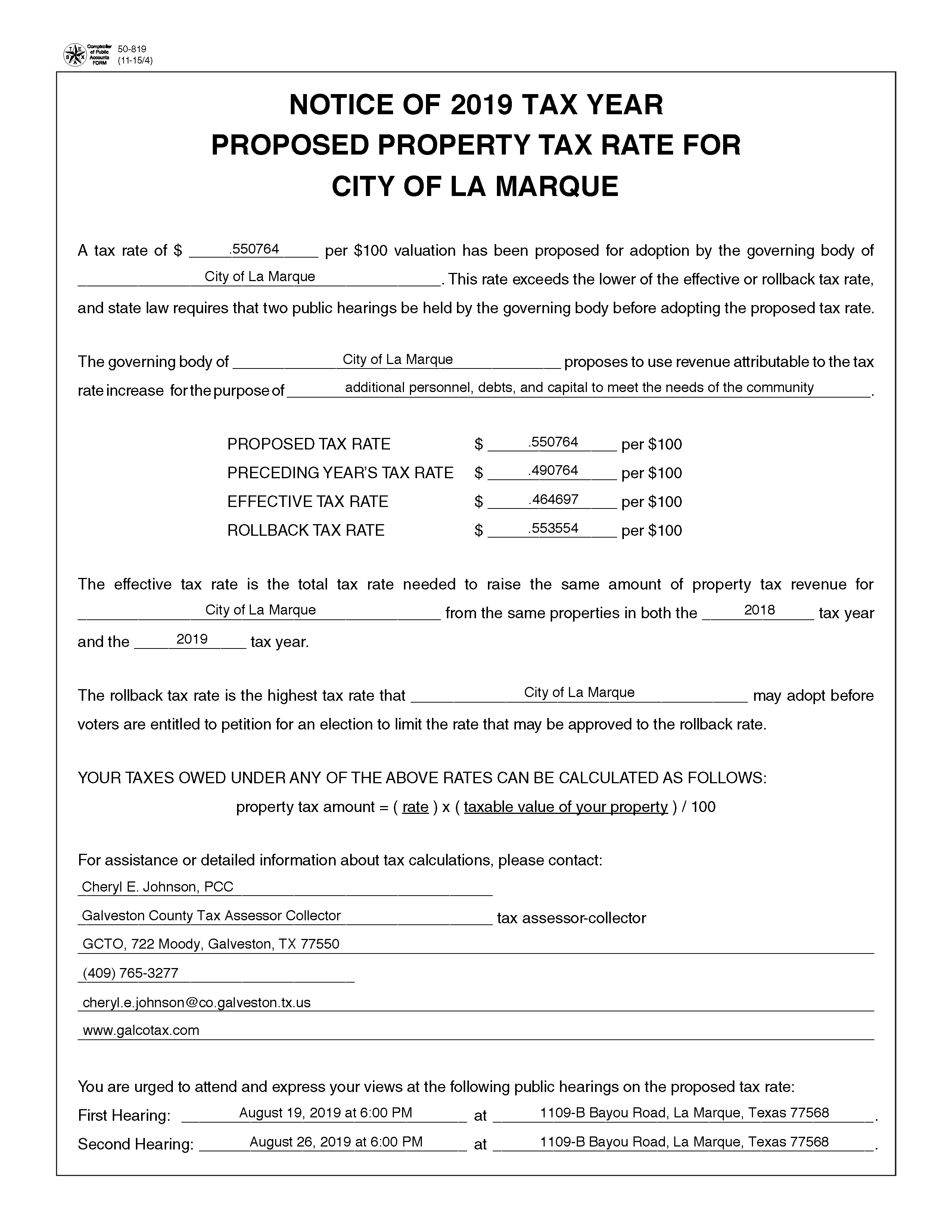 NOTICE OF 2019 TAX YEAR PROPOSED PROPERTY TAX RATE FOR CITY OF LA MARQUE