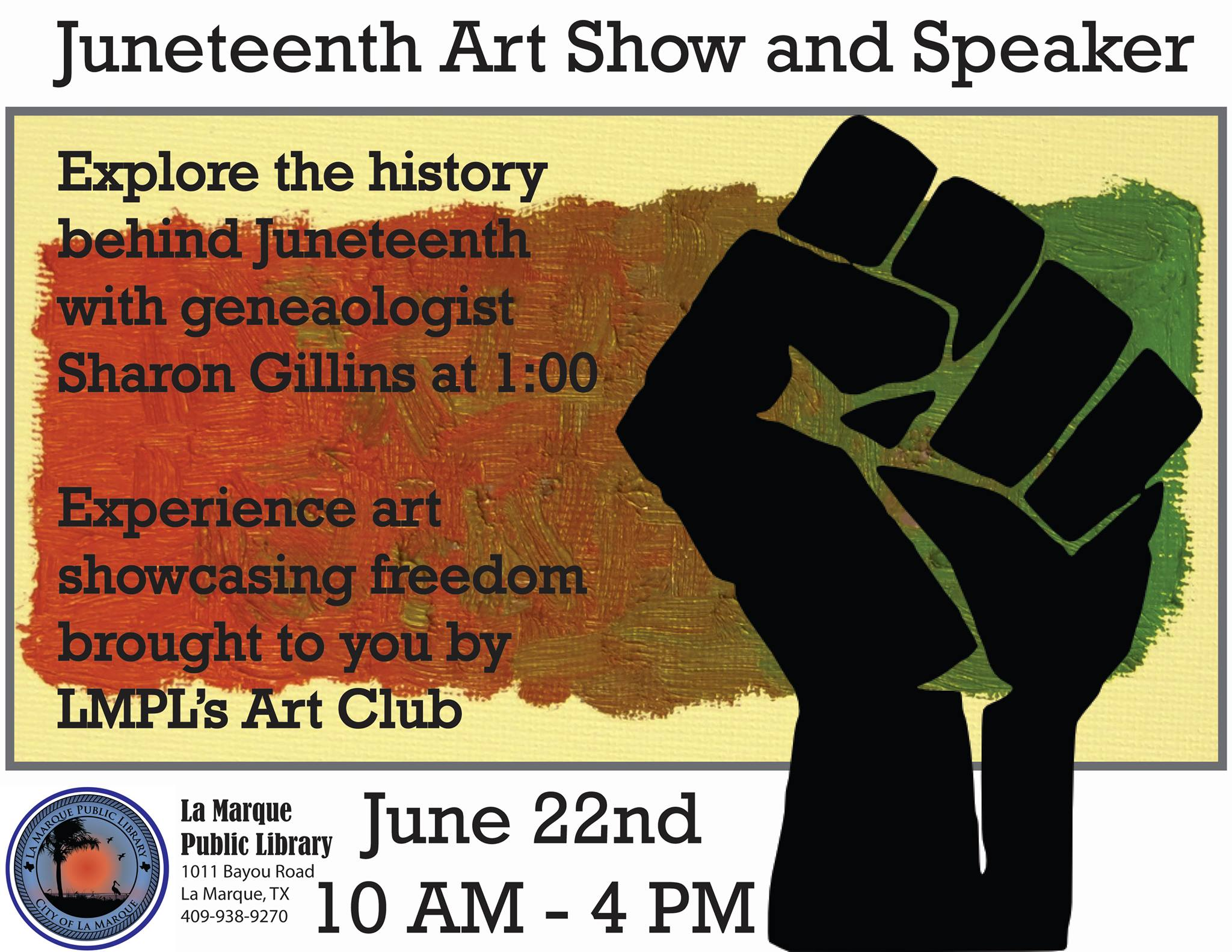 Juneteenth Art Show at LMPL graphic with time and date info