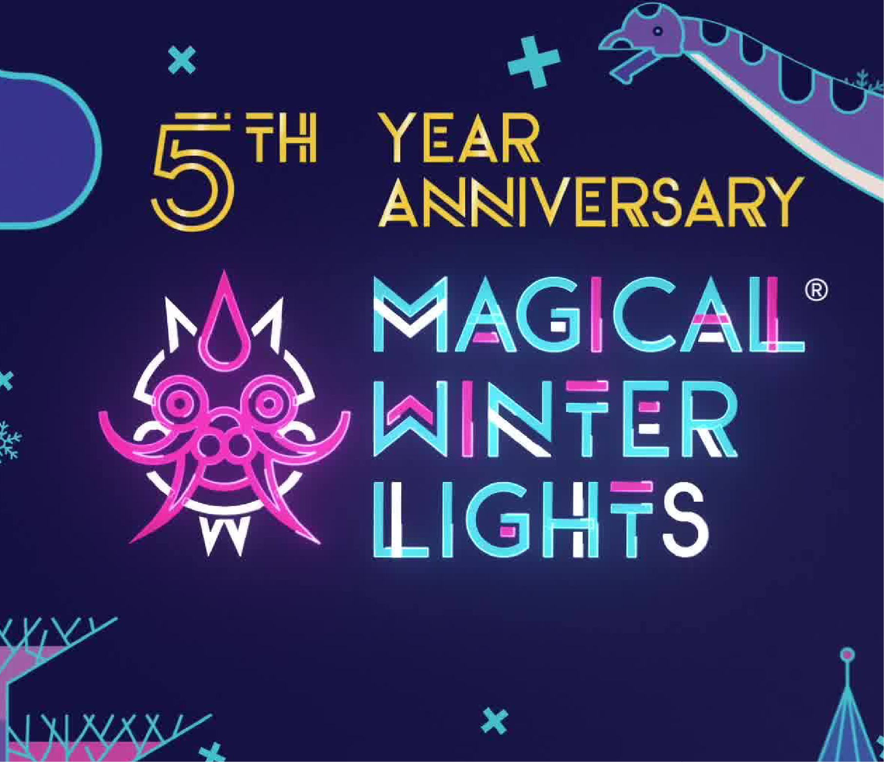 Magical Winter Lights logo with five year anniversary logo
