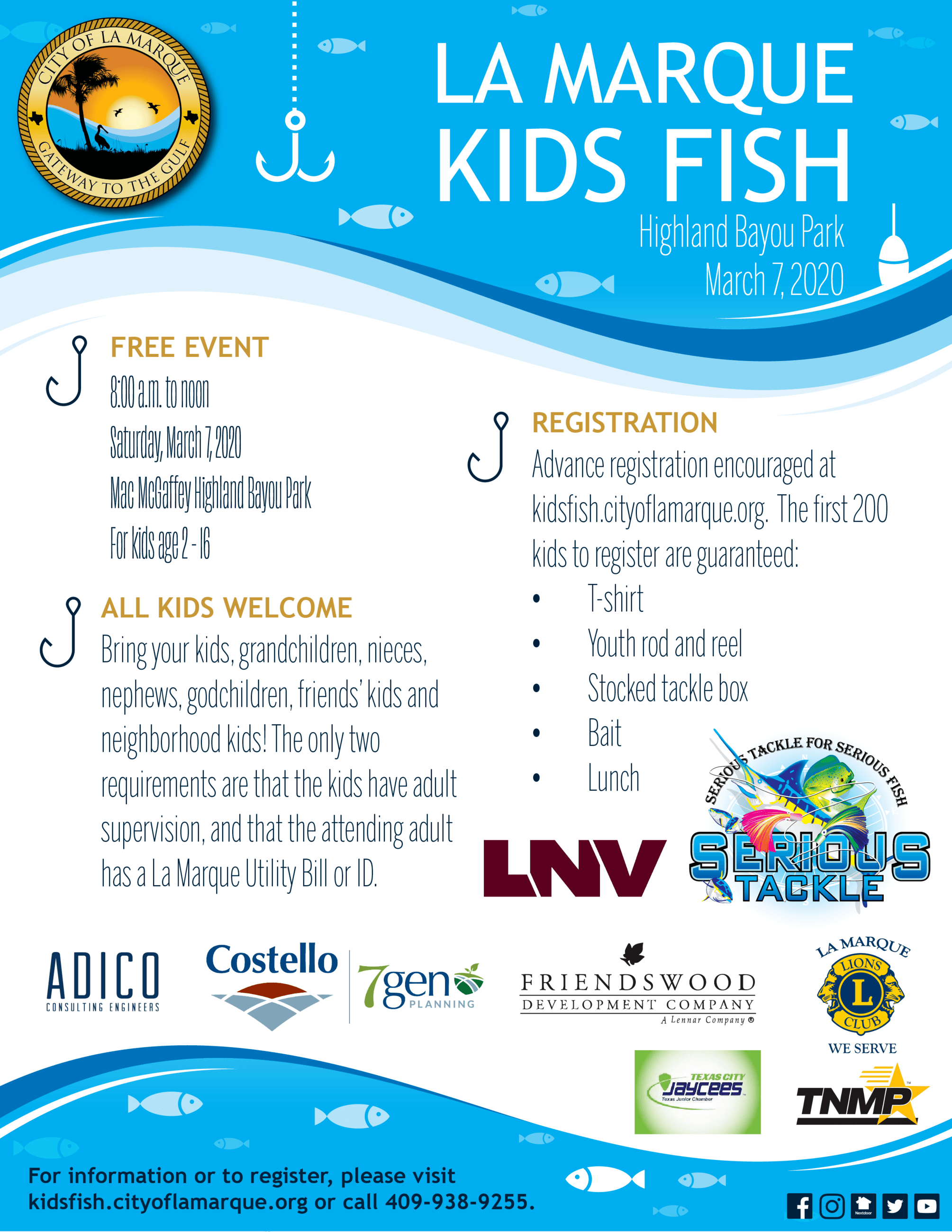 La Marque Kids Fish flyer with sponsor logos 123119