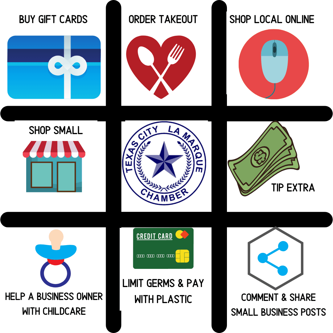 TCLM Chamber graphic showing how to support local business during COVID