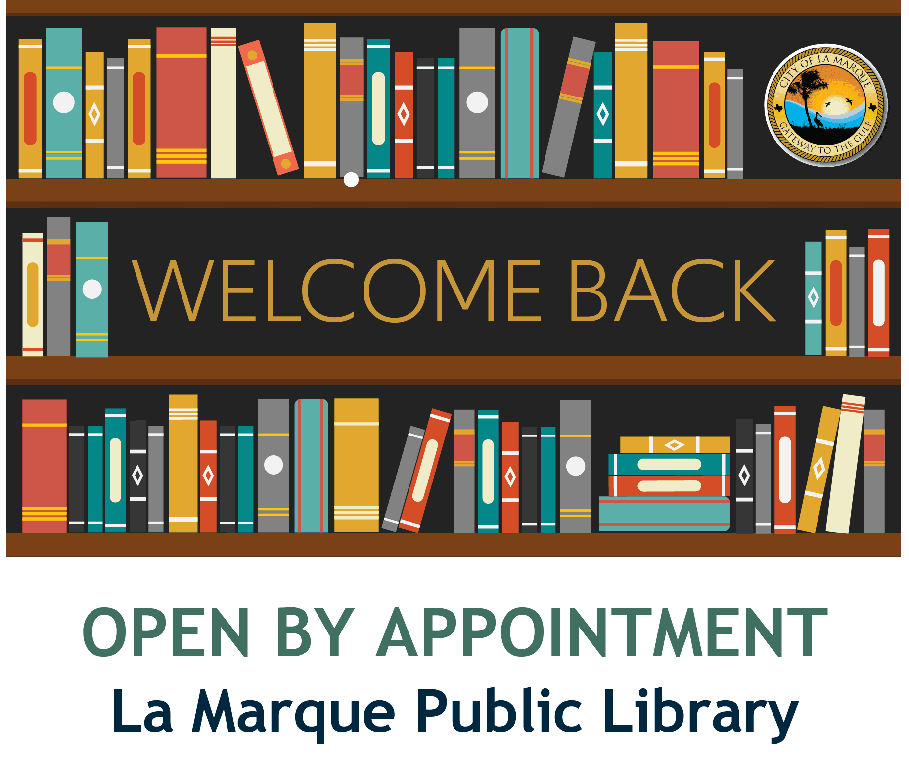 "Library Open_2020 graphic with library books and it says ""welcome back"""