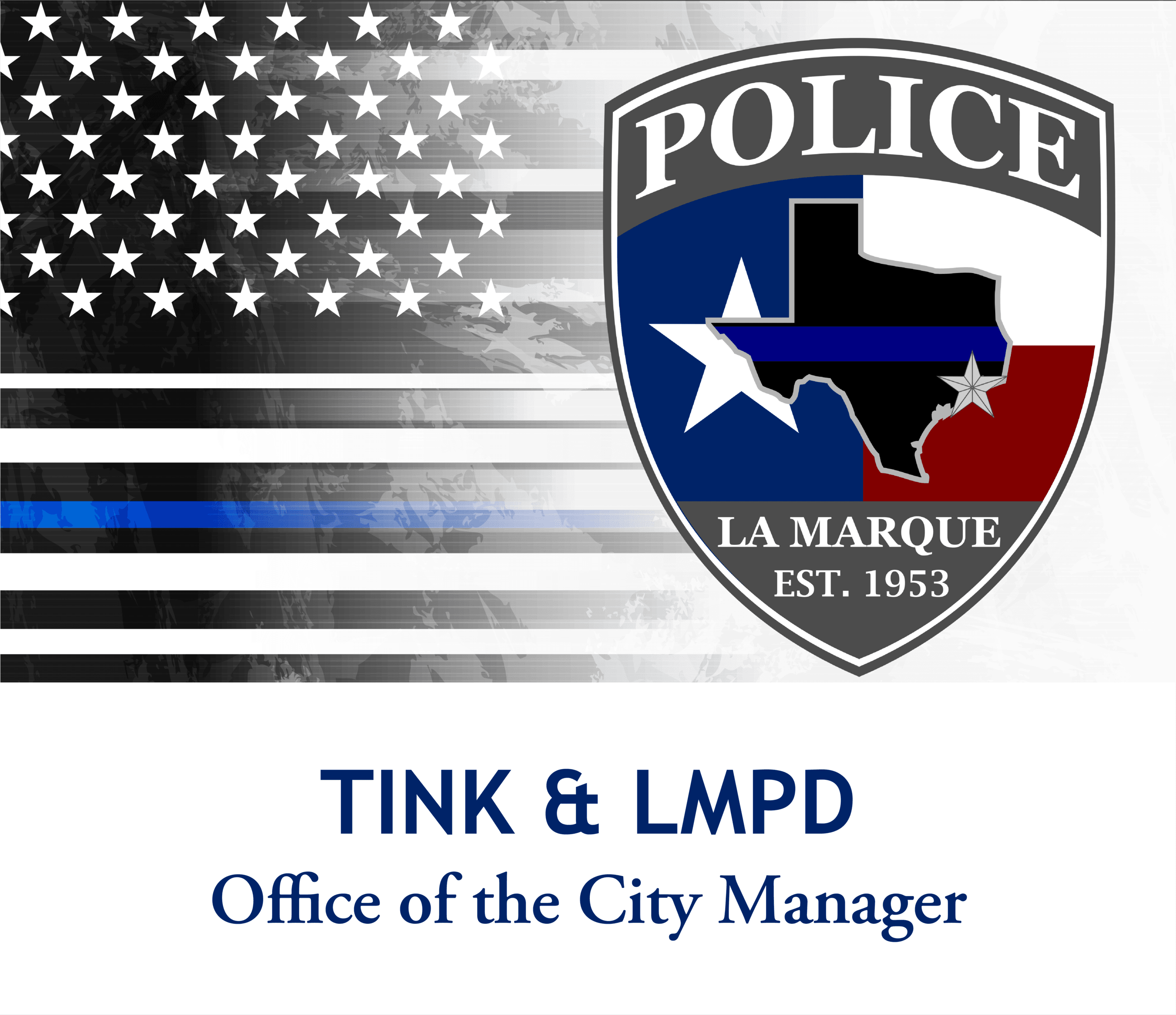 Tink on La Marque Police graphic with back the blue flag_07022020